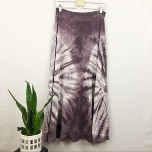 Tryst boho gypsy purple+white tye dye maxi skirt M
